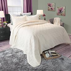 Lavish Home 3-piece Andrea Embroidered Quilt Set - Full