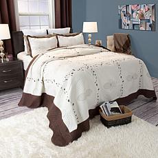 Lavish Home 3-piece Athena Embroidered Quilt Set - King