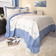 Lavish Home 3-piece Brianna Embroidered  Quilt Set - Fu