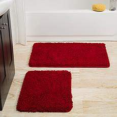 Lavish Home Memory Foam Shag 2 Piece Bath Mat Set ...