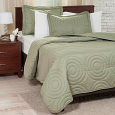 Lavish Home Solid Embossed 3-piece Quilt Set - Twin