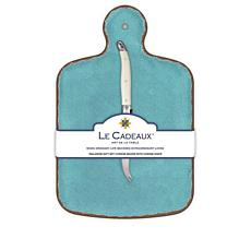 Le Cadeaux Antiqua Cheese Board and Knife Set - Turquoise