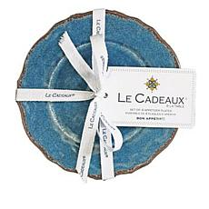 Le Cadeaux Antiqua Melamine Set of 4 Textured Appetizer Plates