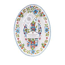 Le Cadeaux Madrid White Platter, Servers and Tea Towel Set