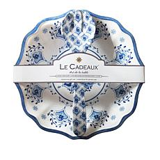 Le Cadeaux Moroccan Blue Salad Serving Bowl and Utensil Set