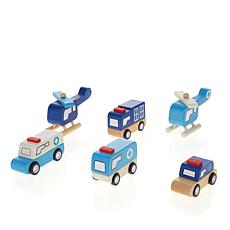 Leading Edge Wooden Police/Hospital Cars and Trucks with Gift Box