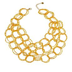 "Lemon Way 27"" Multi-Circle Seed Bead Bib Necklace"