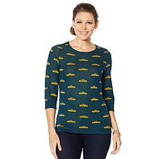 Lemon Way Novelty Jacquard 3/4 Sleeve Sweater