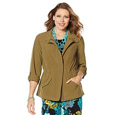 Lemon Way On-the-Move Stretch Tech Zip-Front Utility Jacket