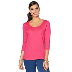 Lemon Way Perfect Pima 3/4-Sleeve Tee - Fashion