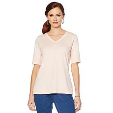 Lemon Way Perfect Pima Elbow-Sleeve Tee - Fashion