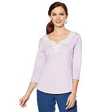 Lemon Way Perfect Pima Lace-Detail 3/4-Sleeve Tee