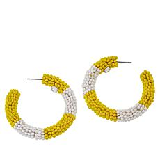 Lemon Way Seed Bead Striped Hoop Earrings