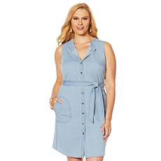 Lemon Way Stretch Denim Button-Down Dress
