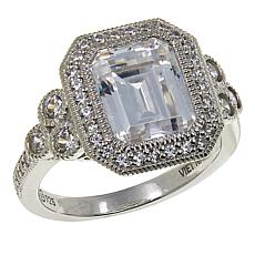 Leslie Greene 4.76ctw Cubic Zirconia Emerald-Cut Halo Ring