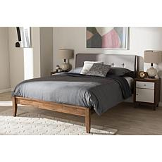 Leyton Gray and Brown Wood King-Size Platform Bed