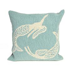 "Liora Manne Frontporch Mermaids 18"" Square Pillow -Aqua"