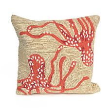 "Liora Manne Frontporch Octopus 18"" Square Pillow -Coral"
