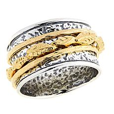 "LiPaz 2-Tone ""Garden"" Hammered Spinner Sterling Silver Ring"