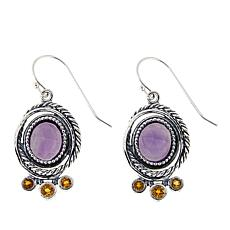 LiPaz 5.38ctw Amethyst and Citrine Sterling Silver Drop Earrings