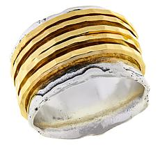 LiPaz Sterling Silver 2-Tone Hammered Spinner Ring