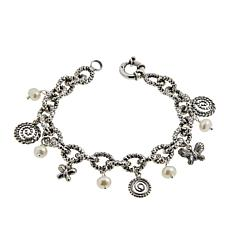 LiPaz Sterling Silver Cultured Pearl Charm Bracelet