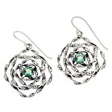LiPaz Sterling Silver Floral 1.4ctw Fluorite Earrings