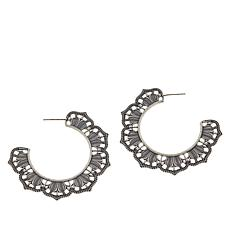 LiPaz Sterling Silver Large Scallop Hoop Earrings