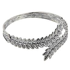 LiPaz Sterling Silver Leaf Design Bypass-Style Bangle Bracelet