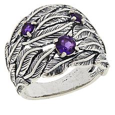 LiPaz Textured Leaf Sterling Silver Amethyst Ring