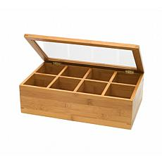 Lipper Bamboo 8-Section Tea Box with Acrylic Lid