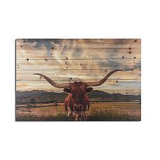 Longhorn 24x36 Print on Wood