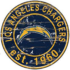 Los Angeles Chargers Round Distressed Sign