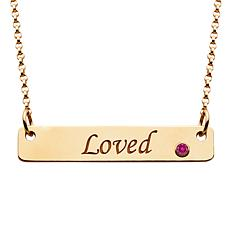 """Loved"" Bar & Birthstone Crystal Necklace"