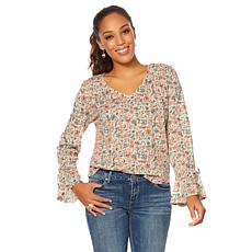 Lucky Brand Printed Bell-Sleeve Top