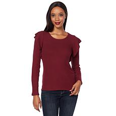 Lucky Brand Ruffle-Trim Ribbed Sweater - Missy
