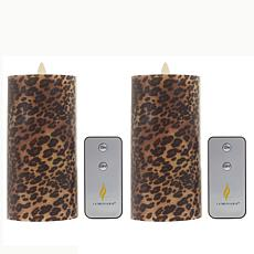 "Luminara 6.5"" Moving Flame Candle - Leopard Print 2-pack"