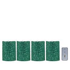 "Luminara 7"" Moving Flame Glitter Candle - 4-pack"