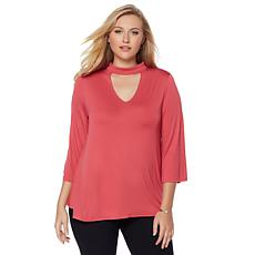 LYSSE Bell Sleeve Mock Neck Cutout Top - Plus