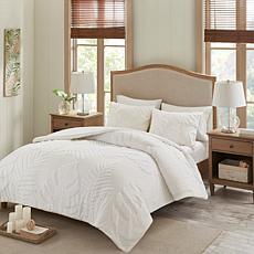 Madison Park Bahari 3-Pc Chenille Palm Duvet Cover Set White F/Q