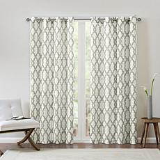 "Madison Park Bond Fretwork Curtain/Gray/Beige/50"" x 84"""