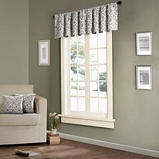 Madison Park Delray Diamond-Print Valance-Gray-50x18""