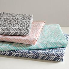 Madison Park Essentials Chevron Microfiber Sheet Set - Navy - Full