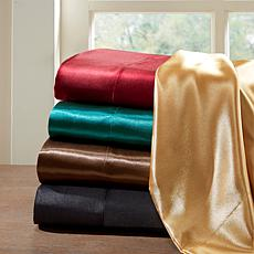 Madison Park Essentials Queen Black Satin Wrinkle-Free 6pc Sheet Set