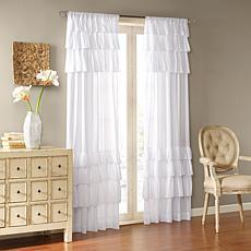 "Madison Park Jocelyn Cotton Oversized Ruffle Curtain-White-50""x63"""