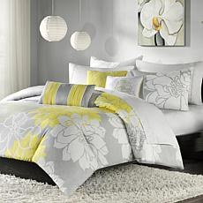 Madison Park Lola Duvet Set Queen Gray/Yellow