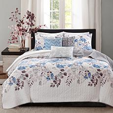 Madison Park Luna 6-piece Blue Quilted Coverlet Set - K