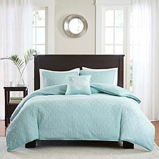 Madison Park Quebec 4-piece Seafoam 2-in-1 Duvet Set -