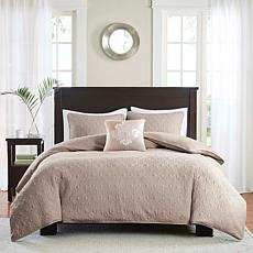 Madison Park Quebec 4pc Khaki 2-in-1 Duvet Set - K/CK