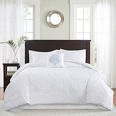 Madison Park Quebec 5-piece White Comforter Set - Queen